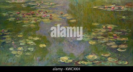 Seerosen von Claude Monet, 1919, französischer impressionistischer Malerei, Öl auf Leinwand. Monet links Stockbild