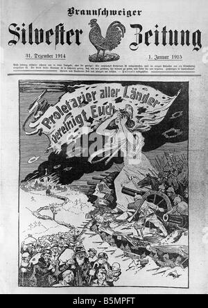 9 1915 1 1 E1 E proletarischen von Menschen s Freund des 1. Weltkrieges Proletarier aller Länder vereinigen, Stockbild