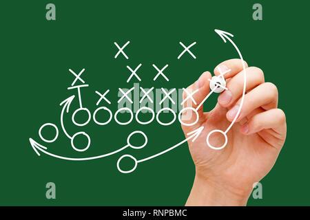 Trainer Zeichnung American Football oder Rugby Spiel playbook, Strategie und Taktik mit weißen Marker auf grünem Hintergrund. Stockbild