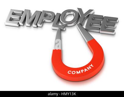 Hufeisen-Magnet für die Wort-Mitarbeiter auf weißem Hintergrund, 3d Illustration Personal Aufbewahrung Stockbild