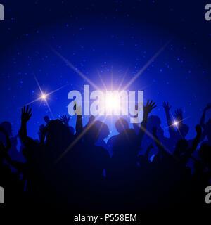 Silhouette einer Partei Gast auf einer Nacht Himmel Hintergrund Stockbild