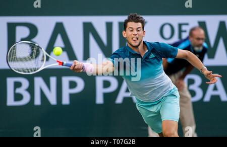 März 17, 2019: Dominic Thiem (AUT), die in Aktion, wo besiegte er Roger Federer (SUI) 6-3, 3-6, 7-5 im Finale der BNP Paribas Open in Indian Wells Tennis Garden in Indian Wells, Kalifornien. © Mal Taam/TennisClix/CSM Stockbild