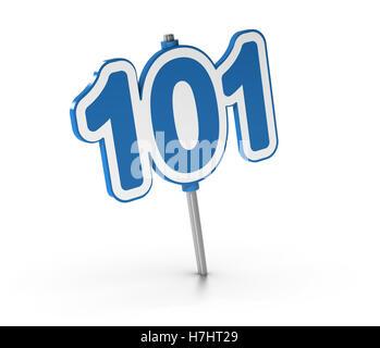 3D Illustration die Nummer 101 auf weißem Hintergrund. Symbol der Einführungskurse Stockbild