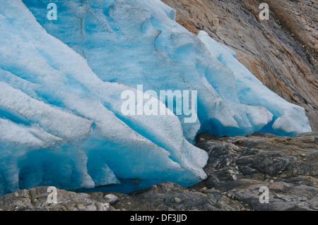 Norwegen/Nordland/Svartisen Nationalpark - die Auswirkungen des Klimawandels: Gletscher schmelzen. Rückzug engenbreen Gletscher. Stockbild