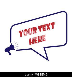 Textfeld Beschriftung für Text, Phrase oder Nachricht, flache Bauform Stockbild
