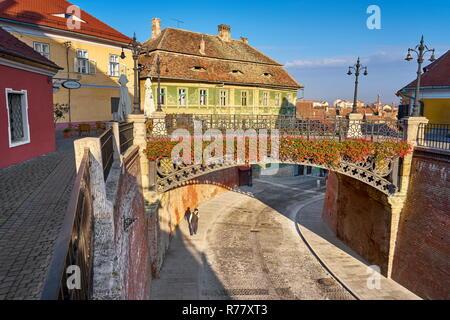 Lügenbrücke, Sibiu Altstadt, Siebenbürgen, Rumänien Stockbild