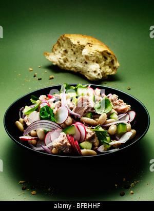 Thunfisch und Cannellini-Salat mit roten Zwiebeln, Basilikum, Radieschen und Gurken Server mit Vollkornbrot. Stockbild