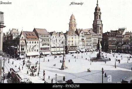 Altmarkt, Dresden vor 1945, Straßenbahnen in Dresden, Pferdekutschen in Deutschland, Germaniadenkmal in Dresden, Neues Rathaus, Dresden, Häuser in Dresden, 1915, Innere Altstadt Stockbild