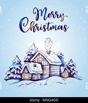 Winterlandschaft mit Häuser und Tannen im Schnee auf einem blauen Hintergrund. Hand Weihnachten gezeichnet Grußkarte. Frohe Weihnachten Schriftzug Stockbild