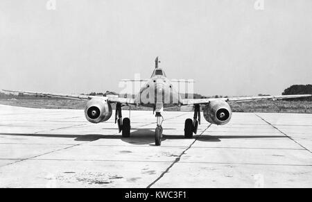 Deutsche Messerschmitt 262 Jet angetriebenen Flugzeug in Besitz der US Air Force nach dem Zweiten Weltkrieg 2. Frontale Stockbild