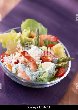 Frühlingssalat mit Garnelen gemischt (Thema: Salate) Stockbild