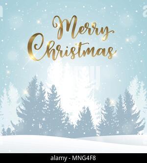 Winterlandschaft mit Tannen im Schnee. Weihnachten Grußkarte. Neues Jahr Urlaub Hintergrund Stockbild