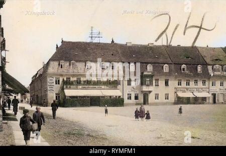Marktplätze in Sachsen, Gebäude in Königsbrück, Restaurants im Landkreis Bautzen, Apotheken in Sachsen 1907, Landkreis Bautzen, Königsbrück, Markt mit Königstraße, Deutschland Stockbild