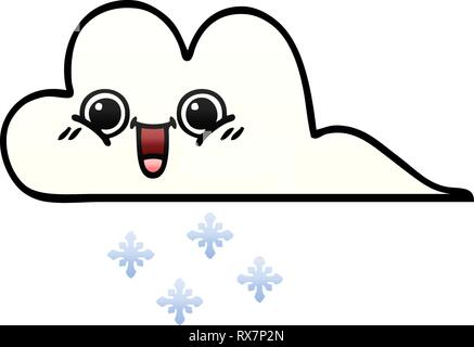 Gradient schattierter Cartoon einer Snow Cloud Stockbild