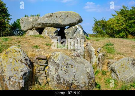 Die megalithischen Grand dolmen Grab von Sprove Runddysse auf der westlichen Insel Moen, Dänemark, Skandinavien, Europa. Stockbild