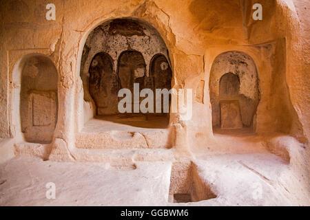 Geographie/Reisen, Türkei, Naher Osten, Kappadokien, Höhle Kirche bei Zelve Tal, Additional-Rights - Clearance Stockbild