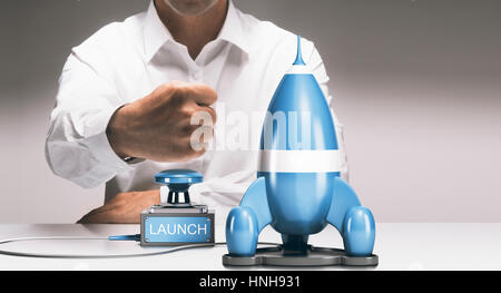 Mann über eine rocketship zu starten. Werbung Konzept der Unternehmen starten oder erweitern. Composite zwischen Stockbild