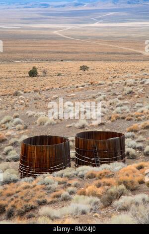 Wassertanks, Berlin-Icthyosaur State Park, Nevada. Stockbild