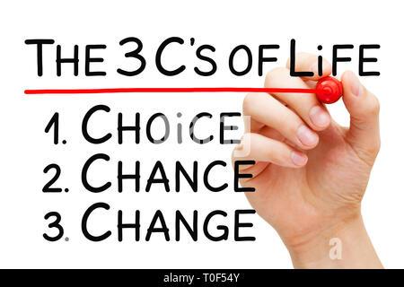 Hand schreiben Wahl Chance, ändern Sie die drei C's des Lebens Konzept. Eine Wahl eine Chance, eine Änderung vorzunehmen. Stockbild
