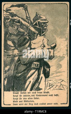 """Deutschland, Hamburg, Altona, WW I, patriotische Postkarte """"Altonaer Tag für die Opfer des 18. 01. 1916 zum Besten der Krieg Hilfe von Altona"""" mit einer Zeichnung eines Soldat und Pferd zusammen mit einem Gedicht """"Drauß halten wir euch treue Wacht... """", Künstler unbekannt sind., Additional-Rights - Clearance-Info - Not-Available Stockbild"""