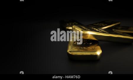 3D Illustration gold Barren über Exemplar auf dem Bild links, horizontal auf schwarzem Hintergrund. Goldmarkt Stockbild