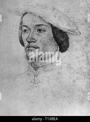 Bildende Kunst, Jean Clouet (1480-1541), Zeichnung, Jean de Brosse, genannt Jean de Bretagne, Duc d'Etampes, Porträt, 1540, Musée Condé, Chantilly, Additional-Rights - Clearance-Info - Not-Available Stockbild
