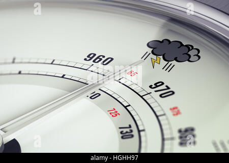 3D Illustration ein Barometer mit Needdle zeigen einen Sturm Piktogramm, horizontales Bild Stockbild