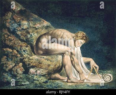 """WILLIAM BLAKE (1757-1827), englischer Künstler. """"Newton"""" im Jahr 1795 gemalt. Stockbild"""