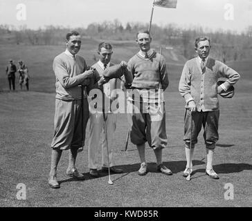 Golfspieler J.W. Ockenden, Fred McLeod, Arthur S. Havers, Jock Hutchison, 22. April 1924. McLeod und Hutchison wurden Stockbild
