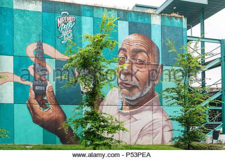 "Urban Graffit, Wandmalerei, ""Nobre e Leal"" durch MrDheo, Porto, Portugal Stockbild"