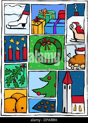 Montage von Winter und Weihnachtsbilder Stockbild