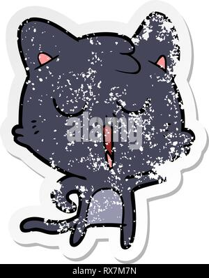 Distressed Aufkleber einer Cartoon cat Singen Stockbild