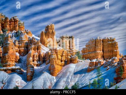 Red Canyon mit Schnee. Utah Stockbild