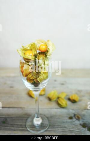 Schöne und elegante Makro Nahaufnahme einer Menge orange leckeres Obst namens Physalis aus Peru, Südamerika, in einem Kristall Glas über Holz- Tabellen Stockbild