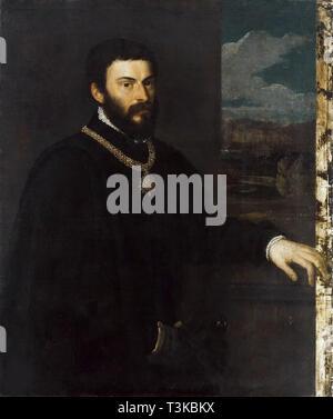 Porträt des Grafen Antonio Porcia, ca 1535-1540. In der Sammlung der Pinacoteca di Brera, Mailand gefunden. Stockbild