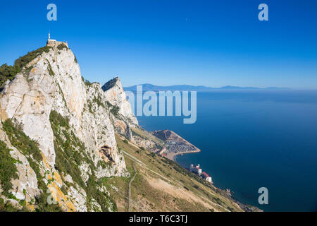 Gibraltar, Gibraltar Rock und Caltalan Bay Stockbild