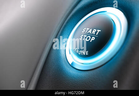 Nahaufnahme von Auto Stop Start System mit Copyspace auf der linken Seite, 3D-Darstellung Stockbild