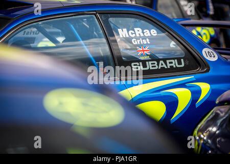 1997 Subaru Imprza WRC von McRae und Mahlgut auf statische Anzeige am Goodwood Festival 2018 von Geschwindigkeit, Sussex, UK. Stockbild