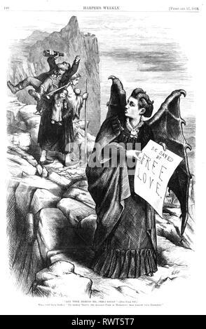 VICTORIA WOODHULL (1838-1927), US-amerikanische Frauen, aktive und passive Wahlrecht. Cartoon in Harpers Weekly, 1872 übersicht Woodhull als Satan. Stockbild