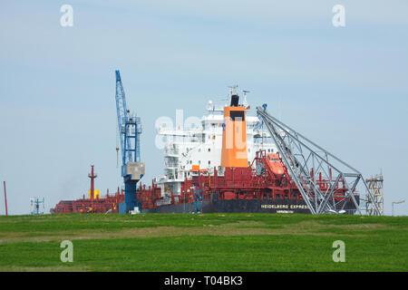 Kaiserhafen I, Deich, Schiff, Bremerhaven, Bremen, Deutschland Ich kaiserhafen I, Deich, Schiff, Bremerhaven, Bremen, Deutschland i Stockbild