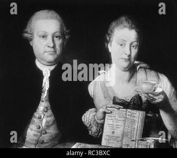 JOSEF LEOPOLD AUENBRUGGER (1722-1809), österreichischer Arzt und seine Frau Marianne Stockbild
