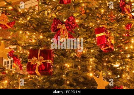 Weihnachten Dekoration in eine Tanne in der Dämmerung, Bremen, Deutschland, Europa ich Weihnachtsdekoration in einem Tannenbaum bei Abenddämmerung, Bremen, sind Stockbild