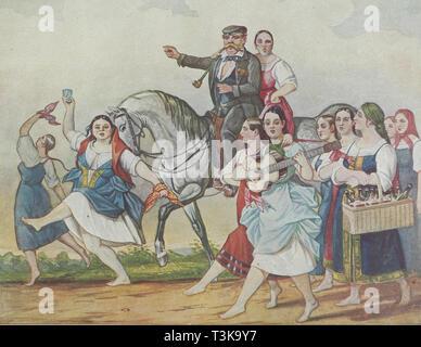 Vermieter und sein Harem, 1830-1840. In der Sammlung der Staatlichen Zentrale A. Bakhrushin Theater Museum, Moskau gefunden. Stockbild