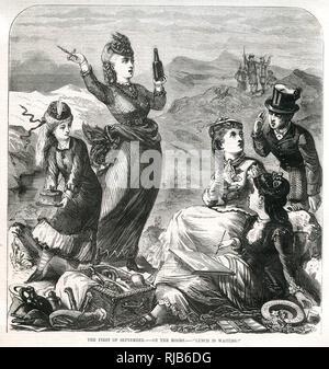 Sitzen Gruppe von Frauen auf der Heide bei einem Picknick und Malerei die Ansicht. Stockbild