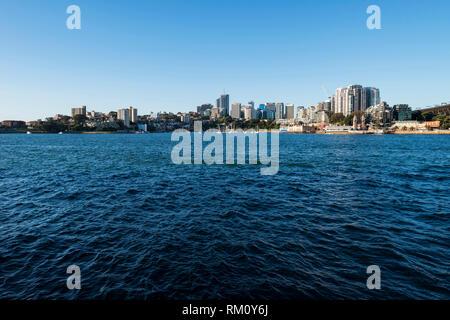 Blick auf die Skyline von Sydney North. Stockbild