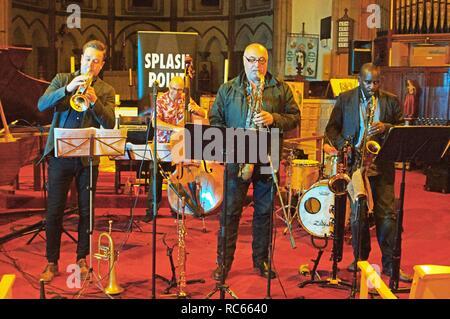Graeme Blumen, Simon Thorpe, Greg Heath und Jason Yarde, Eastbourne Jazz Festival, Christ Church, Eastbourne, East Sussex, 30. Sep 2018. Stockbild