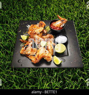 Gegrillte Hähnchenflügel mit Frühlingszwiebeln, Limette, Salz und Ketchup auf einem Rasen-Hintergrund. Stockbild