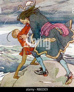 PETER PAN kämpft Captain Hook in einer in den 1920ern Darstellung der Zeichen erstellt von J.M. Barrie Stockbild