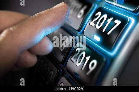 Finger sich Jahr bis 2017 zu ändern, durch Drücken einer Taste. Verbund zwischen einem Bild und einem Stockbild