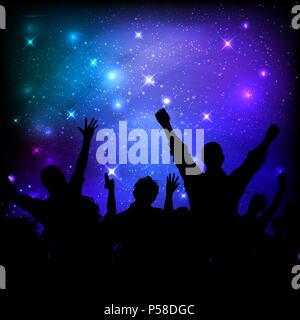 Silhouette einer Partei Publikum auf einer Galaxie Nachthimmel Stockbild